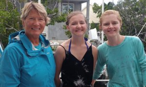 Instructor and two newly certified junior divers