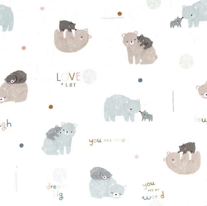 SMZ8223-CREM-D Bear love minky