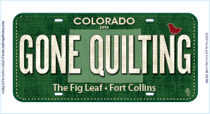 2016 Fabric License Plate - GONE QUILTING by The Fig Leaf