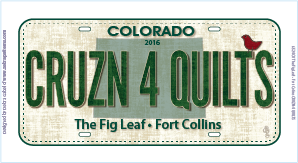 2016 Fabric License Plate - CRUZN 4 QUILTS by The Fig Leaf
