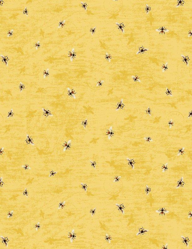 Yellow Tossed Bees<br/>Wilmington Prints 33850-595