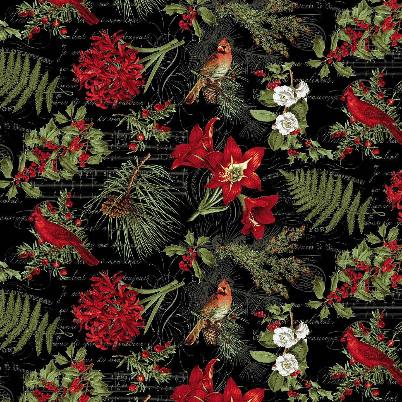 Yuletide Botanica Lg Floral Black<br/>Blank Quilting 1064-99