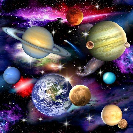 In Space - Planets Moons Black<br/>Elizabeth's Studio 1297-BLA