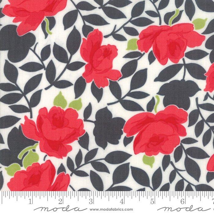 Little Snippets Charcoal Vintage Rose<br/>Moda 55180-16