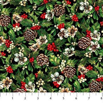 Pine Cones Black/Multi<br/>Northcott 24105-99