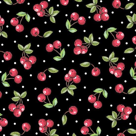 Cherries - Black<br/>Quilting Treasures 24351-J