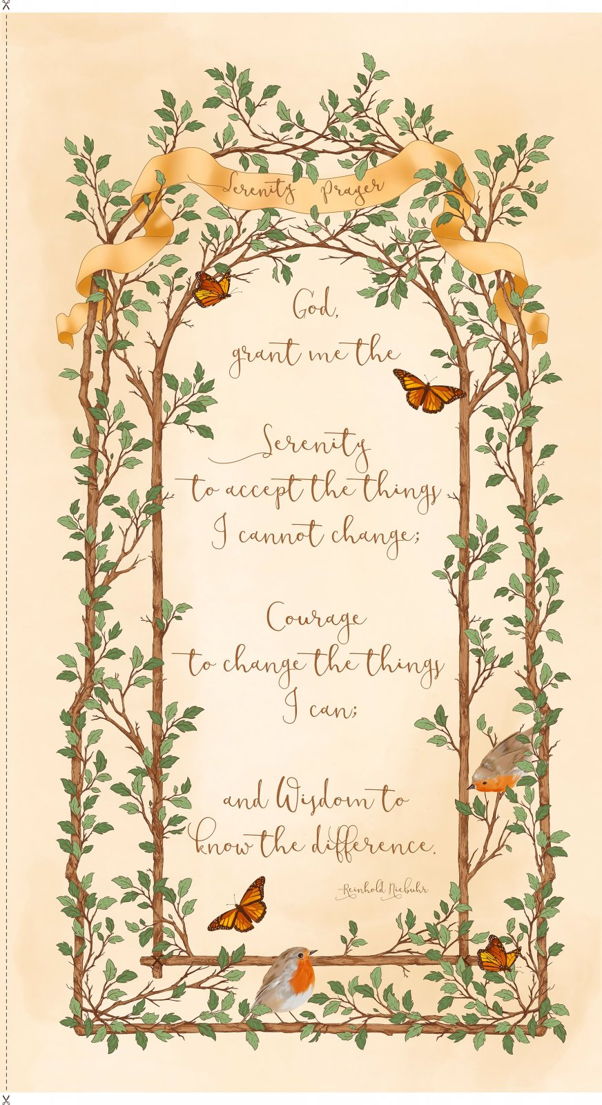 Serenity Prayer Panel Ecru<br/>Quilting Treasures 25824-E