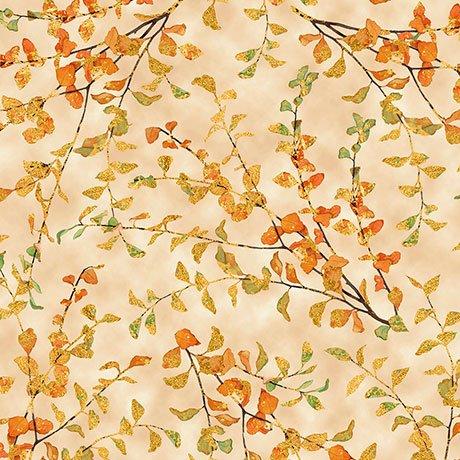 Autumn Shimmer Leaf Branch Cream<br/>QT Fabrics 26540-E