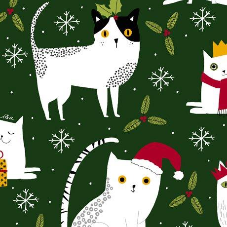 Christmas Cats Forest<br/>QT Fabrics 27117-F