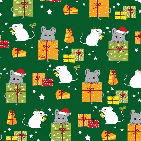 Mice & Gifts Green<br/>QT Fabrics 27118-G