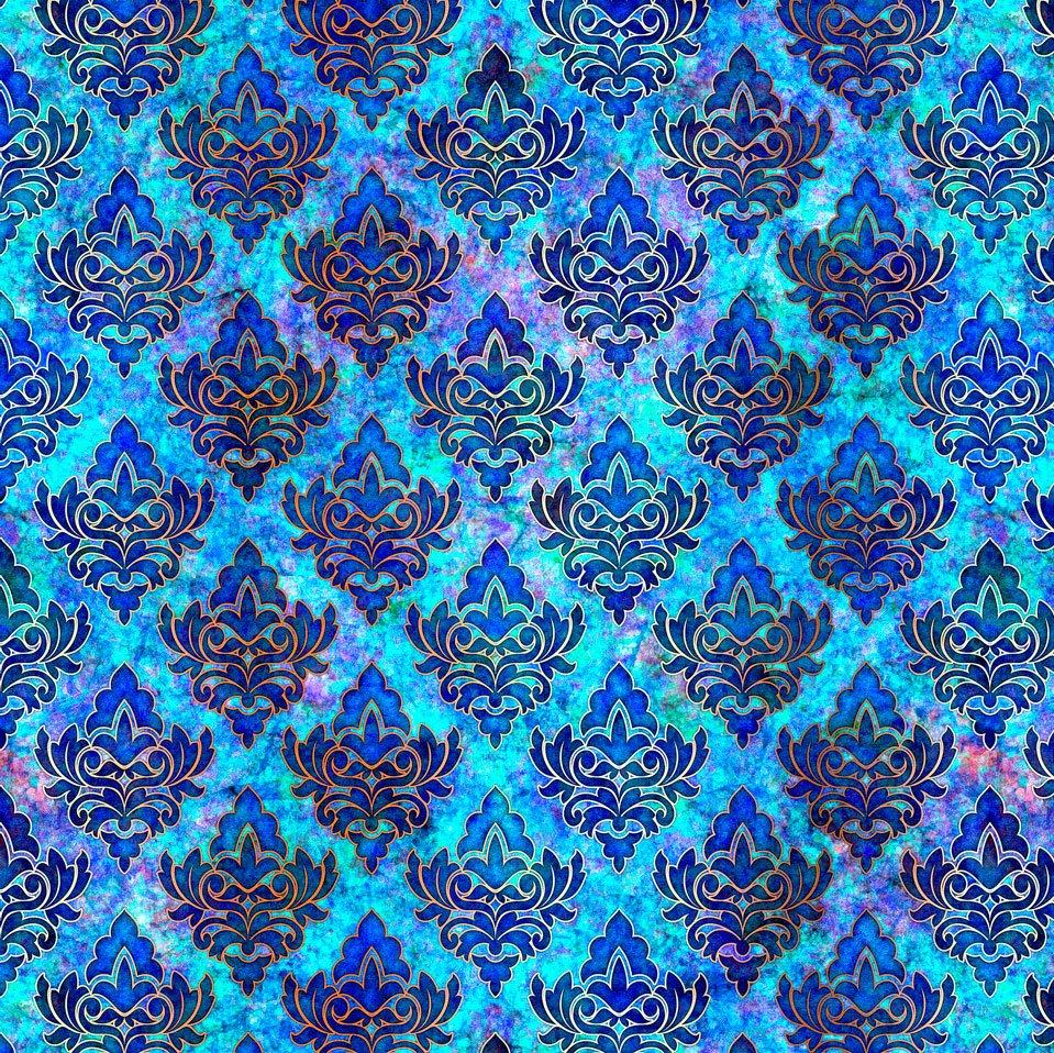 Pandora Diamond Medallion Blue<br/>QT Fabrics 27186-B