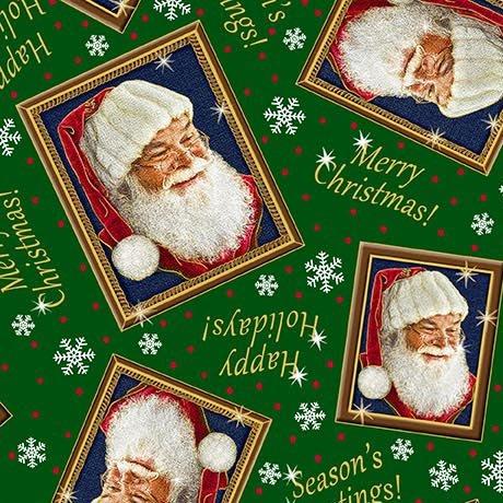 Tossed Santa Frames Dk Forest<br/>QT Fabrics 27261-F