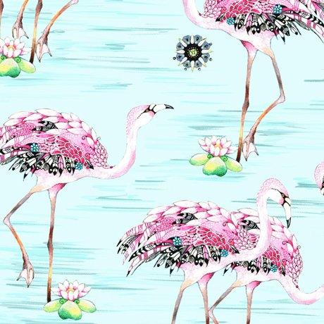 Fancy Flamingos Lt Aqua<br/>QT Fabrics 27305-Q