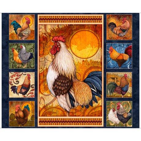 Sunrise Farms Rooster Panel<br/>QT Fabrics 27415-N