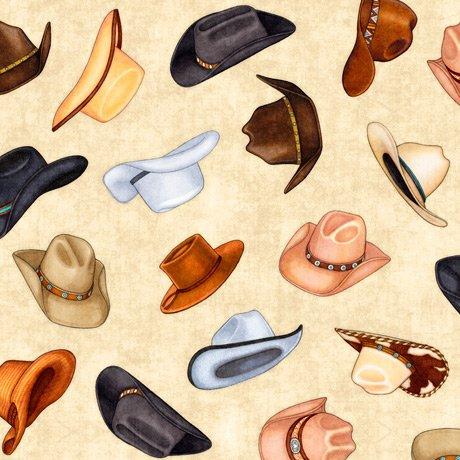 Cowboy Hats Oatmeal<br/>QT Fabrics 27743-E