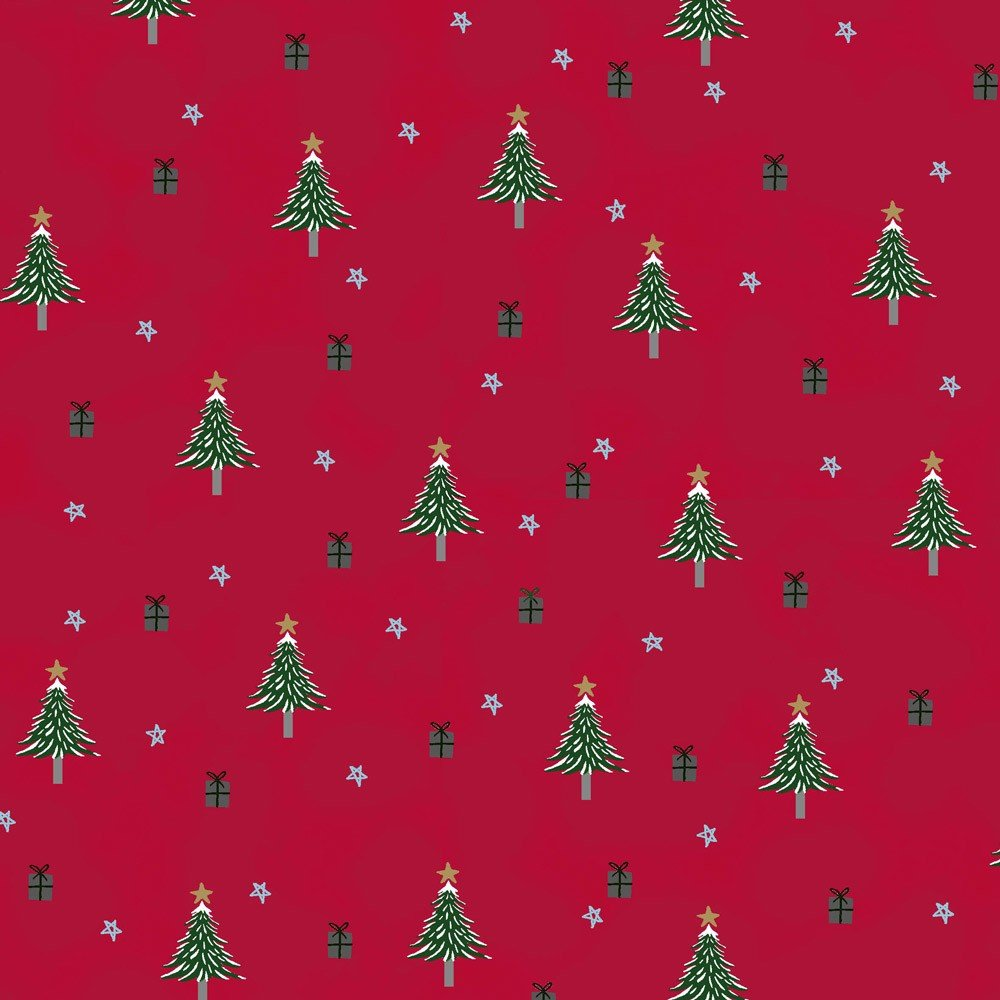 Snow House Trees Red<br/>Stof 4497-039