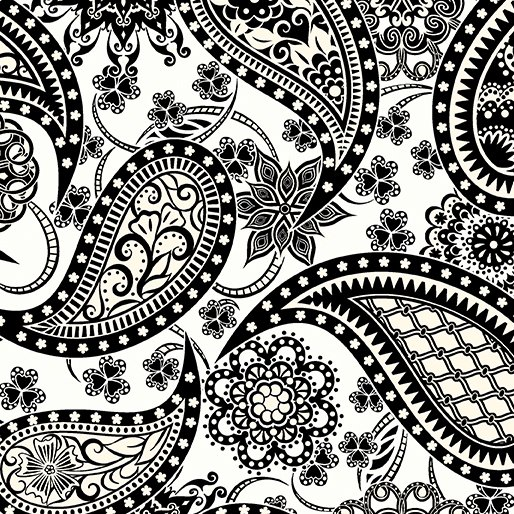 108in Wide Paisley White/Cream/Black<br/>Benartex 5490W-09