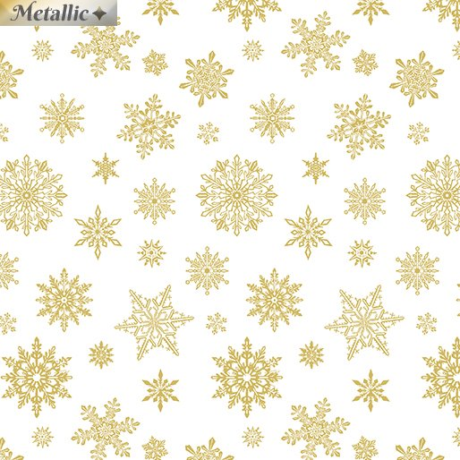 Falling Flakes White/Gold<br/>Benartex 6873M-09