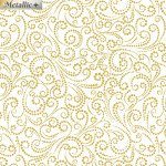Dotted Scroll White/Gold<br/>Benartex 6875M-09