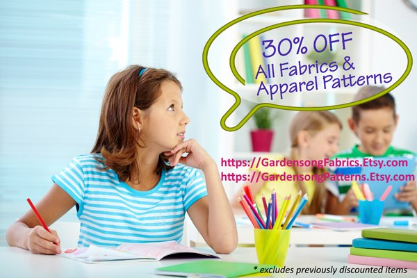 30% off fabrics & garment patterns