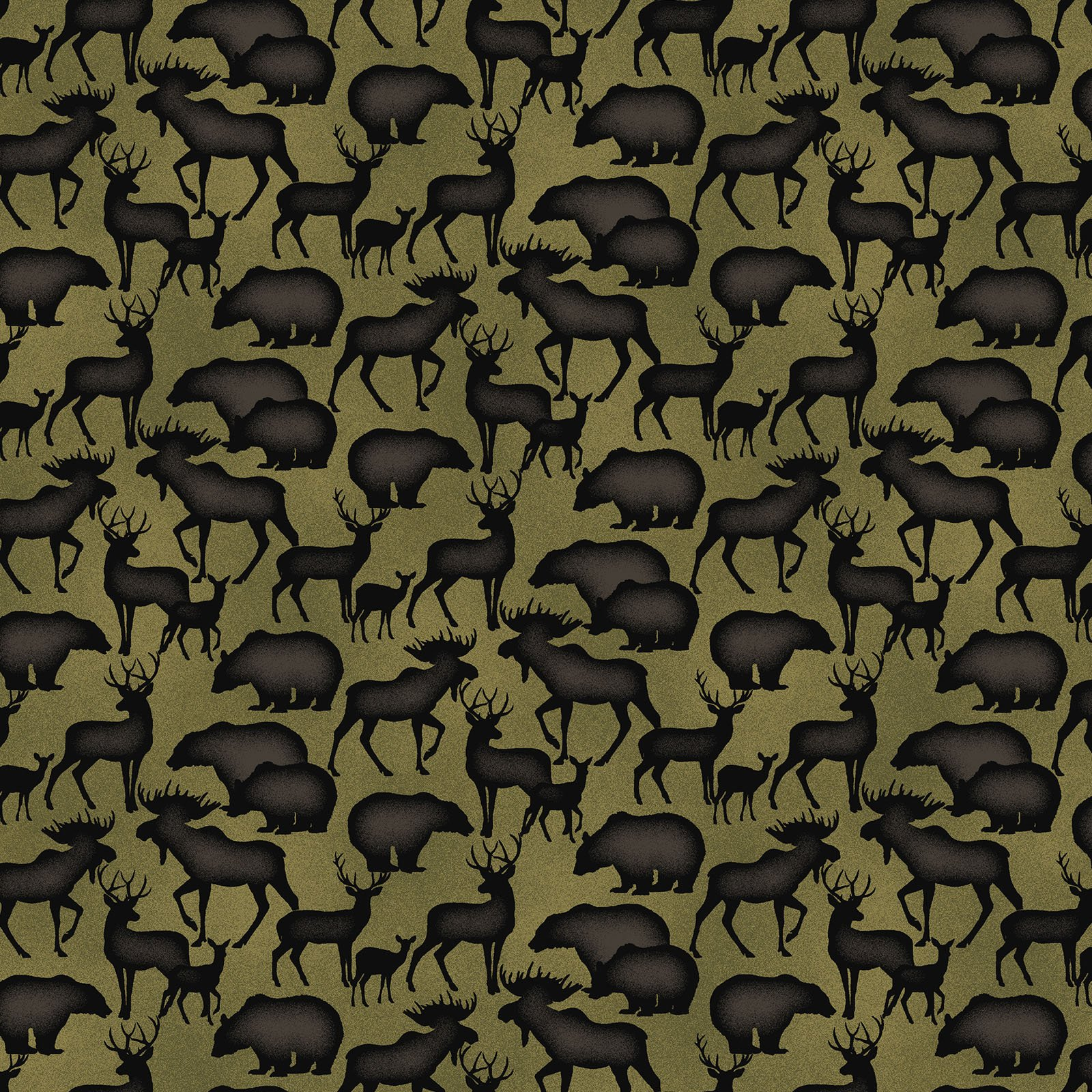 Animal Silhouettes Olive<br/>Benartex 219443