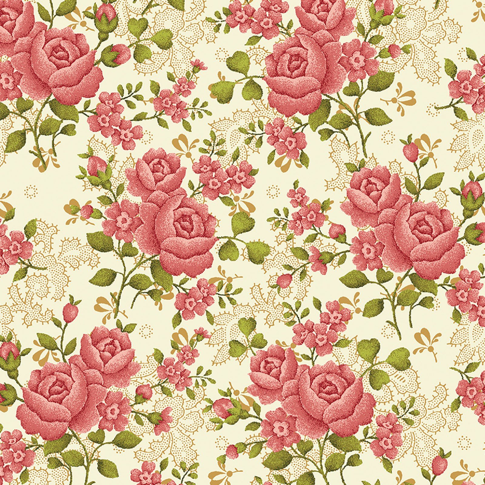 108in Homestead Climbing Rose Cream<br/>Benartex 1649W-07