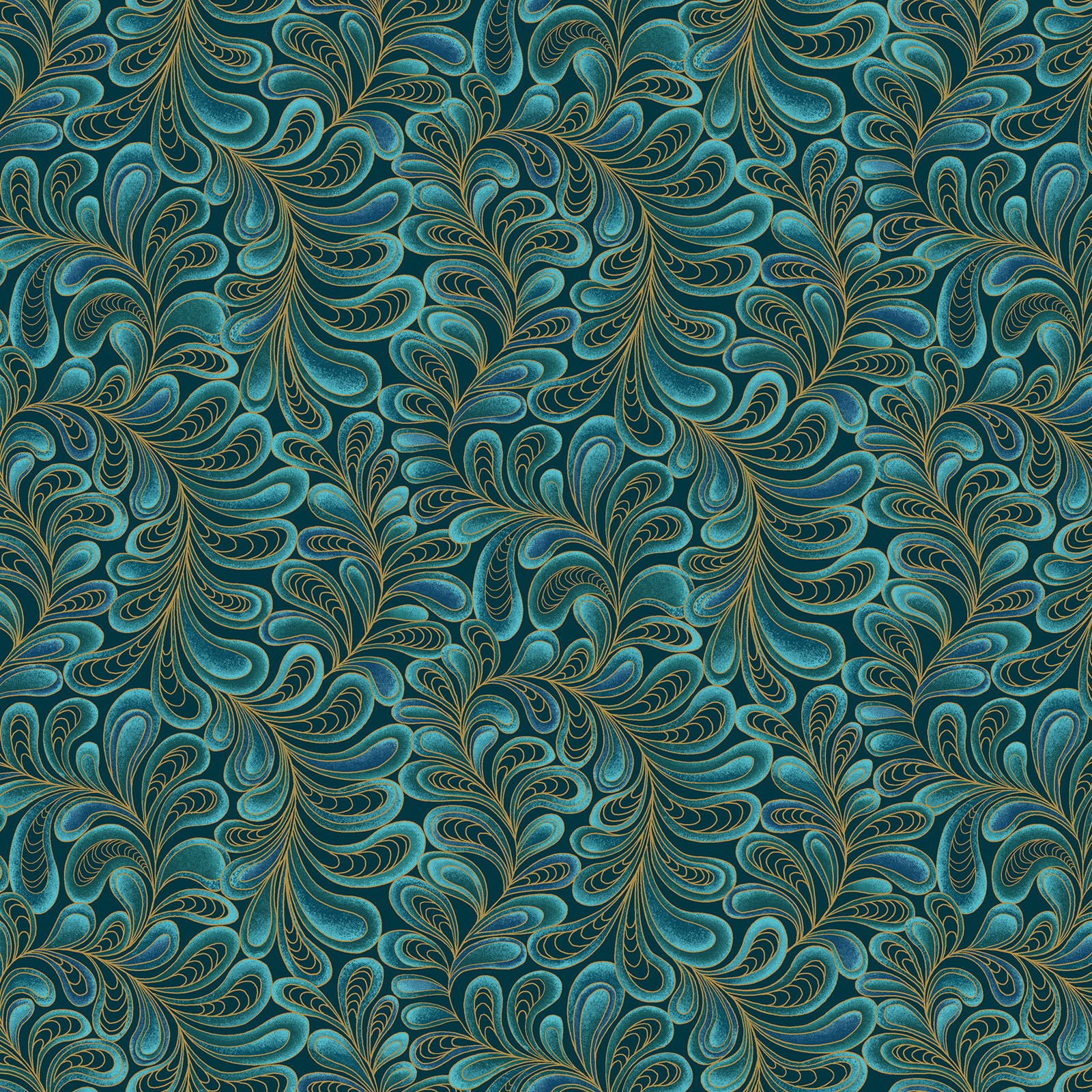 Feather Frolic Teal<br/>Benartex 4205M-54