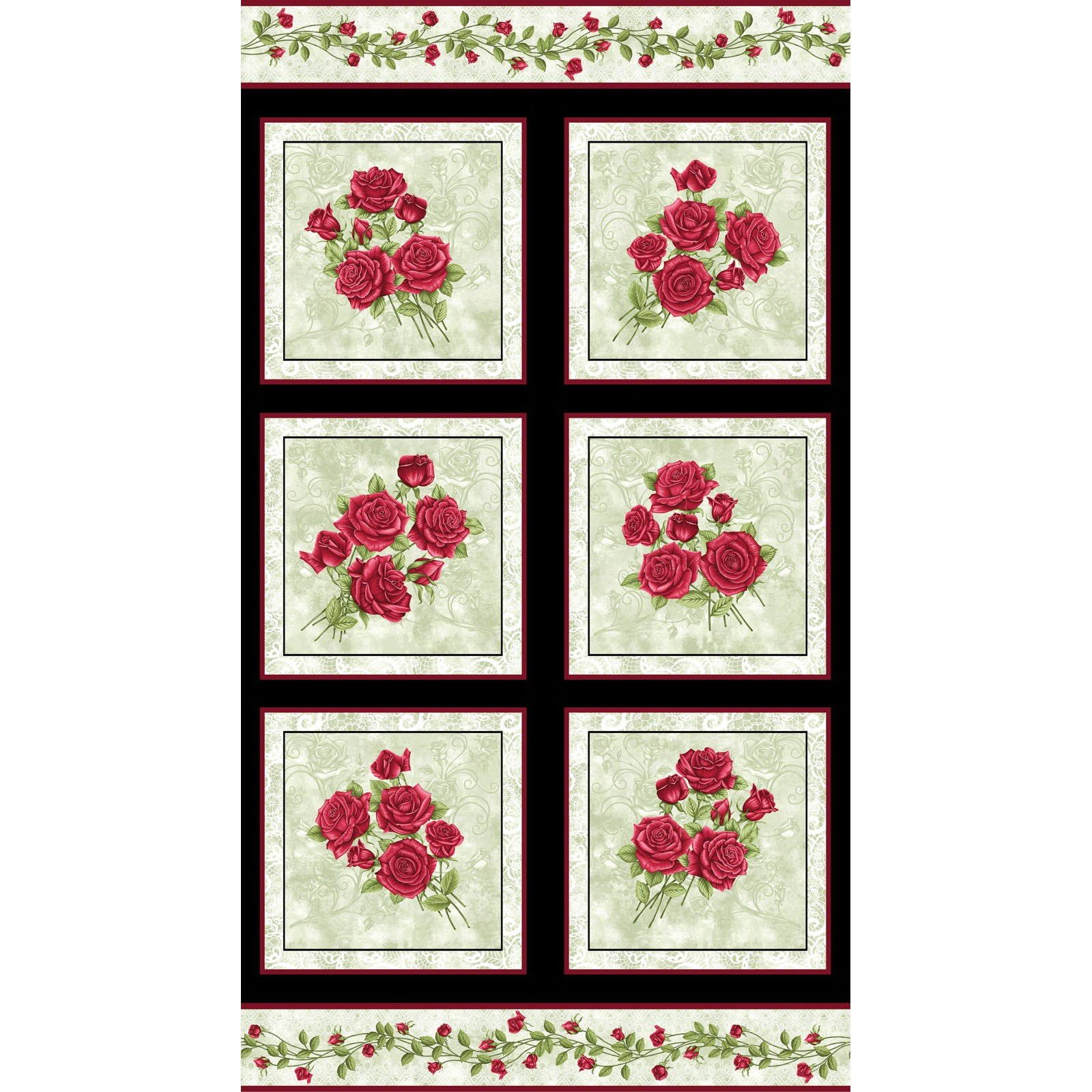 A Festival of Roses Panel Green<br/>Benartex 6635P-42