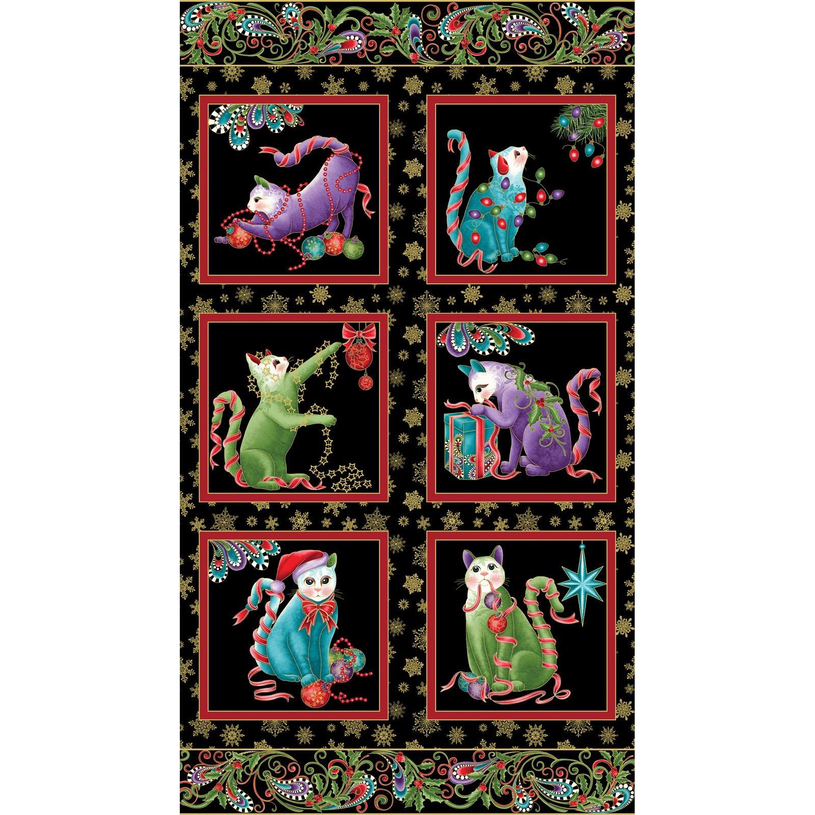 Cat-I-Tude Christmas Panel Black<br/>Benartex 6740M-12