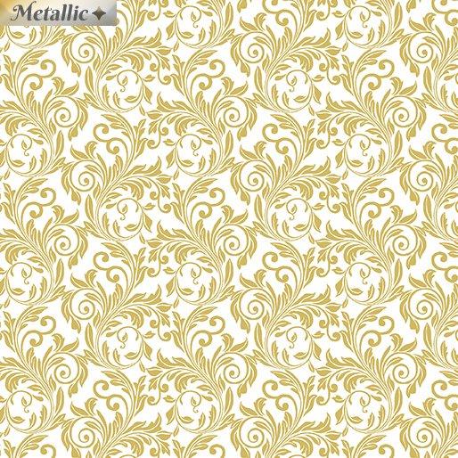 Festive Scroll White/Gold<br/>Benartex 6872M-09