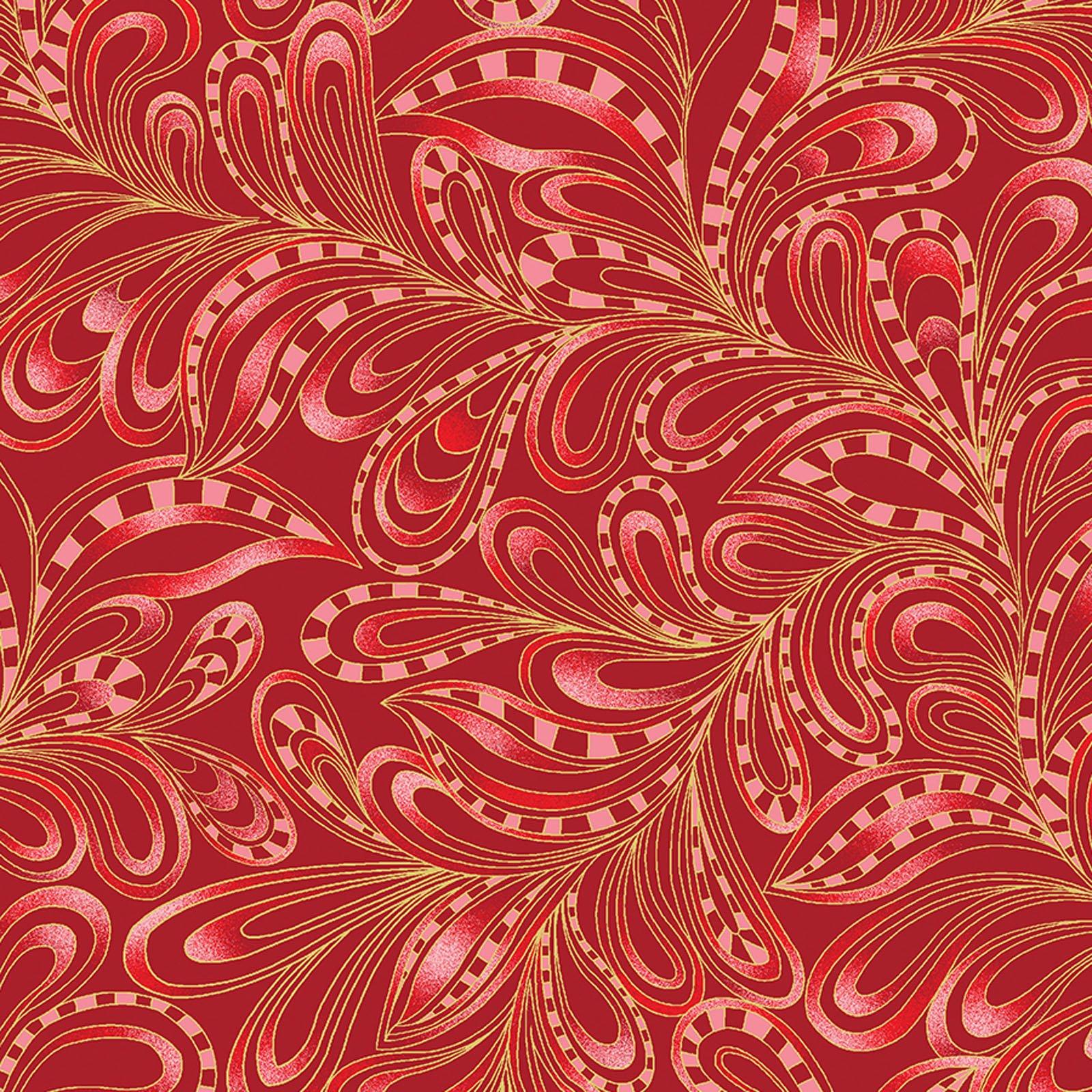 Featherly Paisley Rouge<br/>Benartex 7555M-20