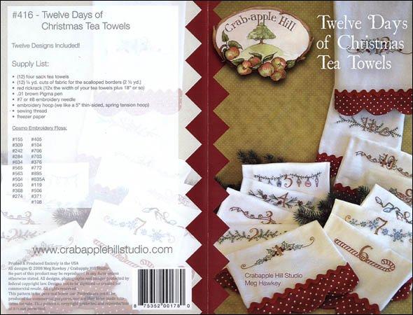 12 Days of Christmas Tea Towel<br/>Crab-apple Hill #416