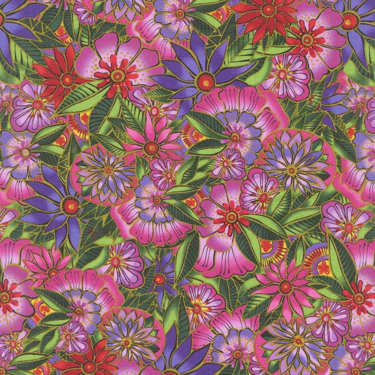 Tropical Flowers Fuchsia<br/>Laurel Burch 2599-77