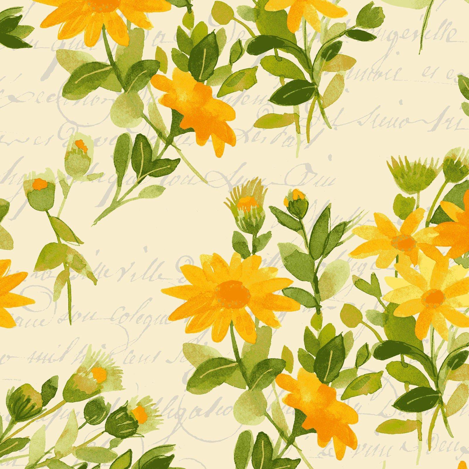 Fresh Picked Daisy Gold<br/>Clothworks 2367-68