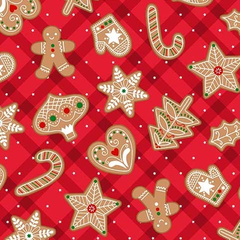 Gingerbread Treats Red<br/>Michael Miller 9634-RED