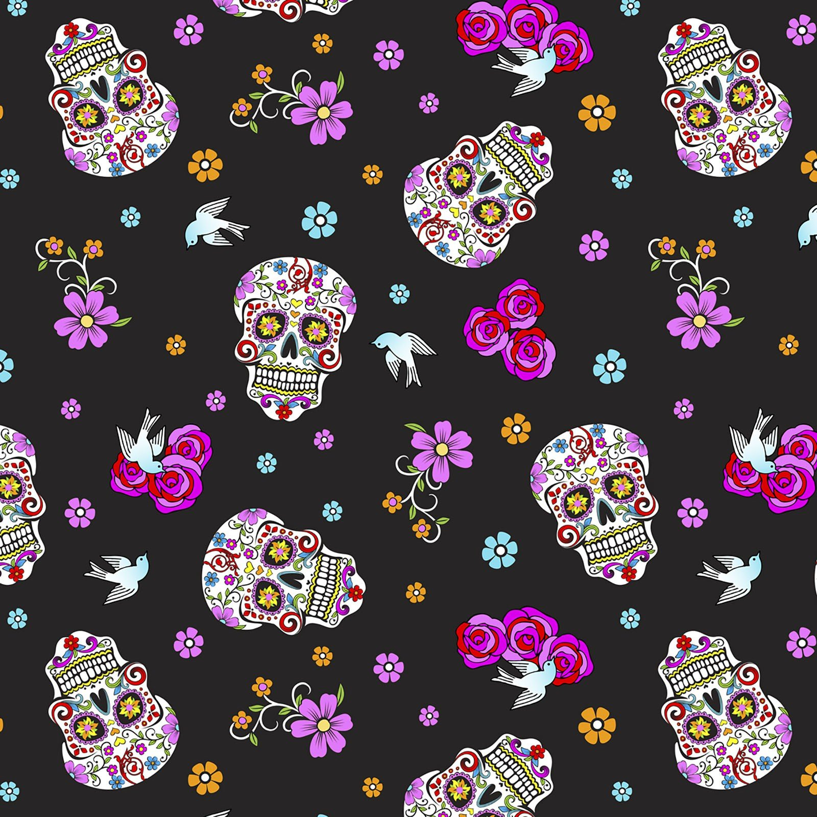 Day of the Dead with Glitter<br/>David Textiles 5195-7C-1
