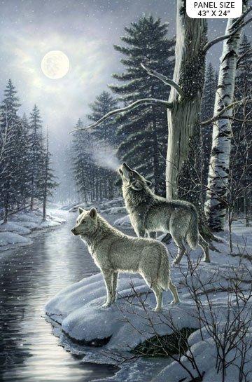 Silver Moon Wolf Panel<br/>Northcott 23656-42