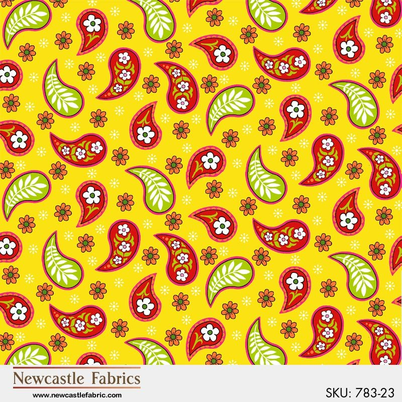 Fantasy Paisley - Yellow<br/>Newcastle Fabrics