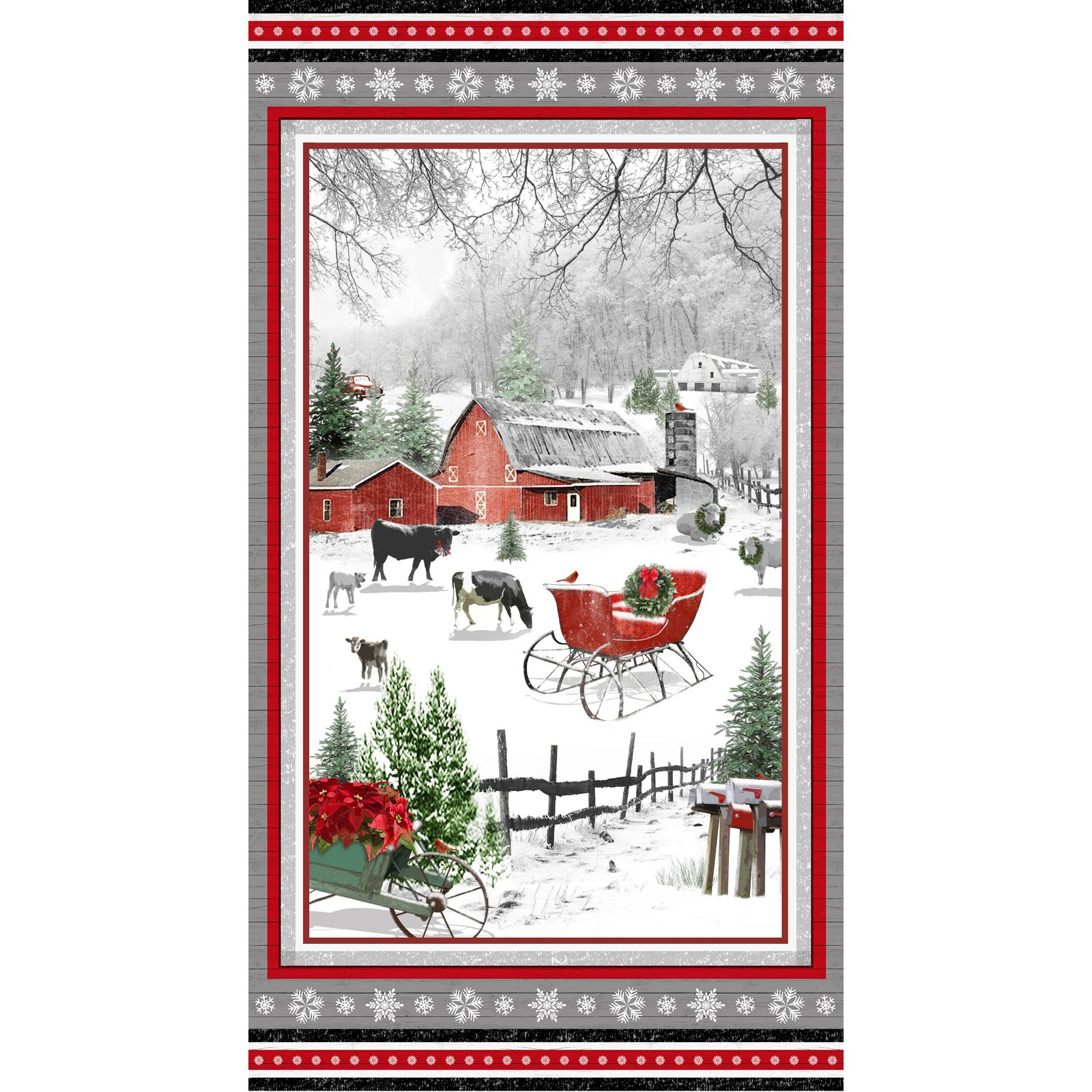 Holiday Homestead Panel<br/>Henry Glass 1611P-89
