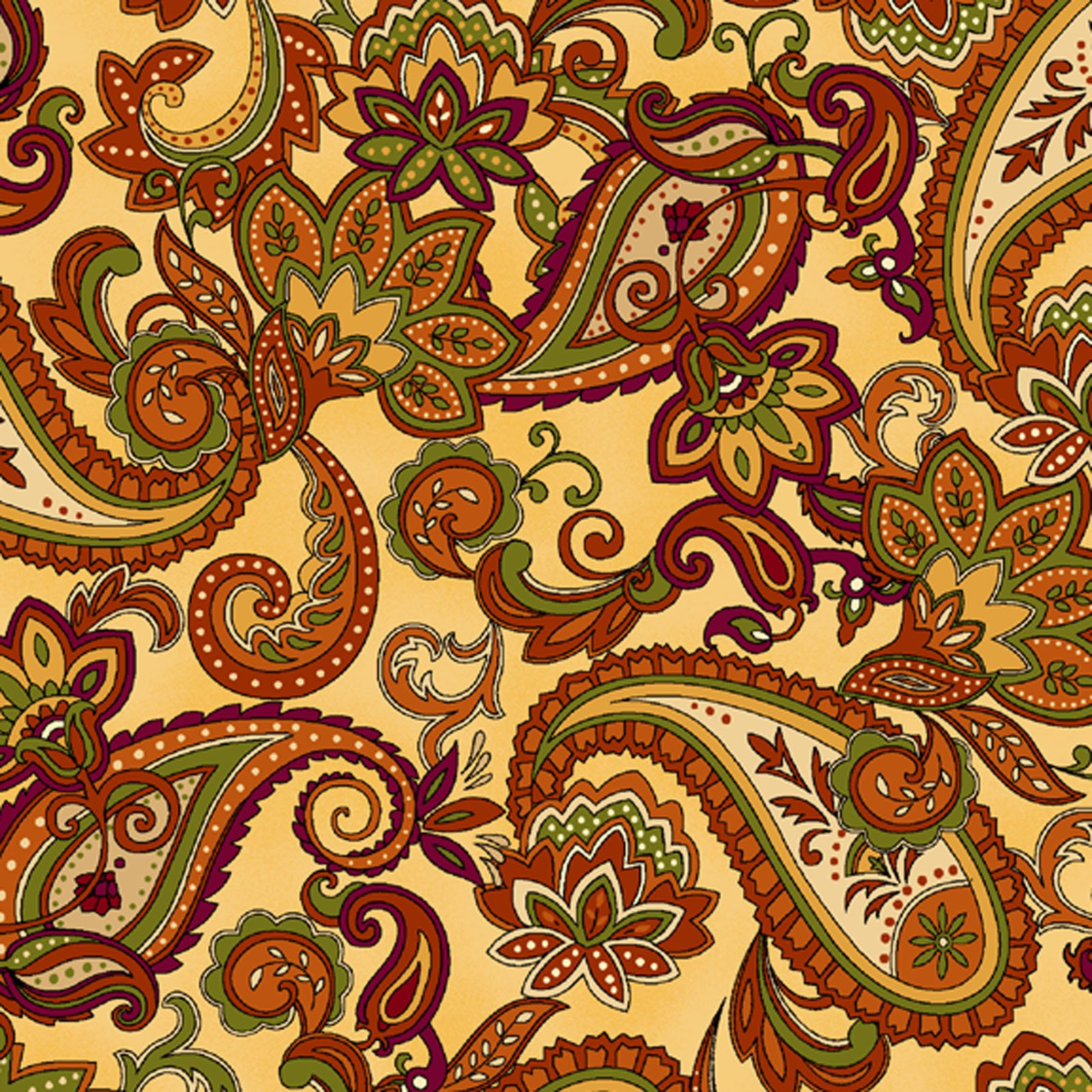Autumn Time Paisley Butter<br/>Henry Glass 2323-33