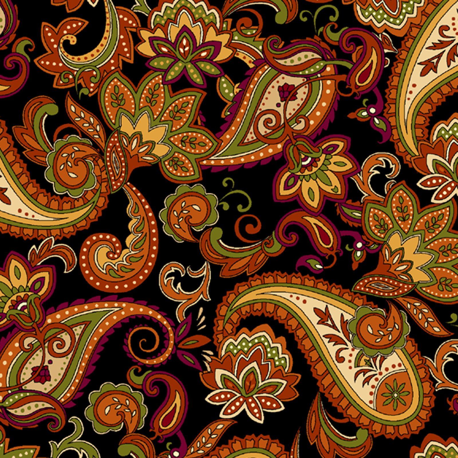 Autumn Time Paisley Black<br/>Henry Glass 2323-99