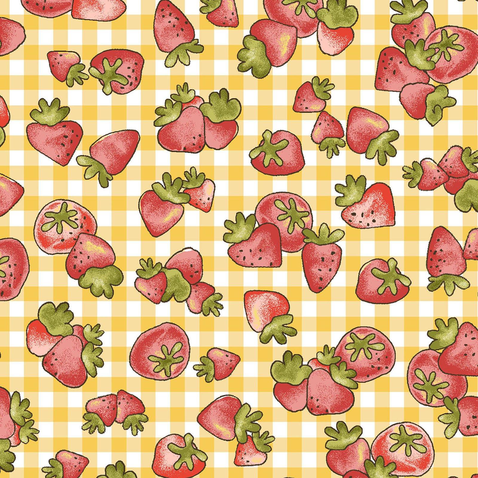 Strawberries - Yellow Check<br/>Henry Glass 6723-44