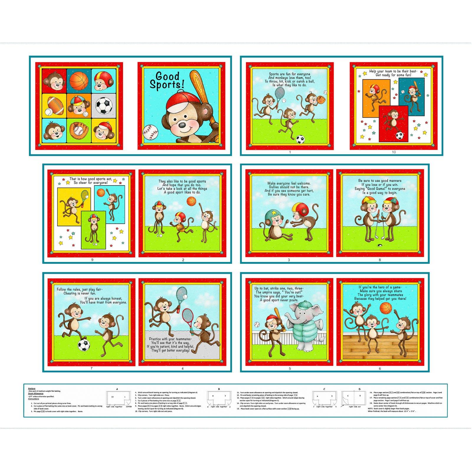 Multi Monkey Book Panel<br/>Henry Glass 6818P-18