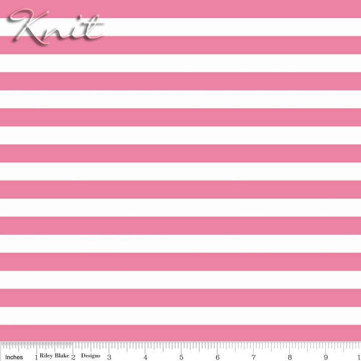 Knit Half Inch Stripe Hot Pink</br>Riley Blake