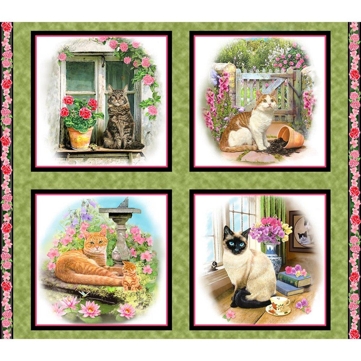 Fancy Felines Garden Cats Panel<br/>QT Fabrics 27035-G
