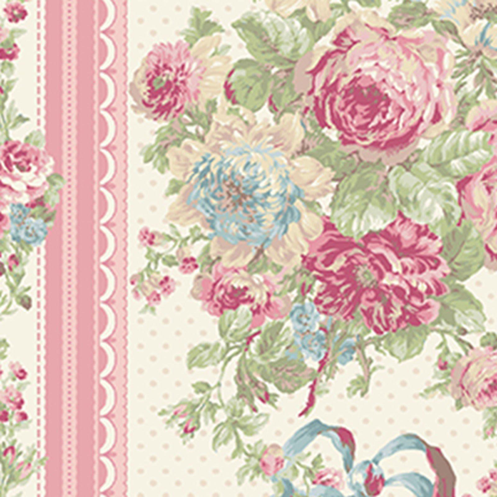 Ruru Bouquet - Rose Stripe Ecru<br/>Quilt Gate 2200-12B