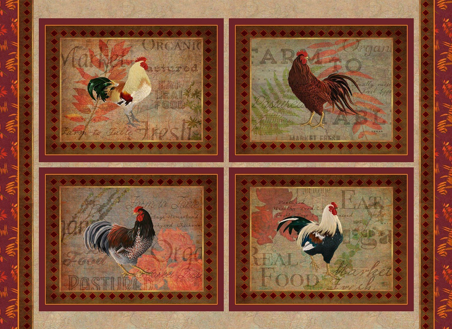 Rustic Roosters Panel<br/>3Wishes 13849-MUL