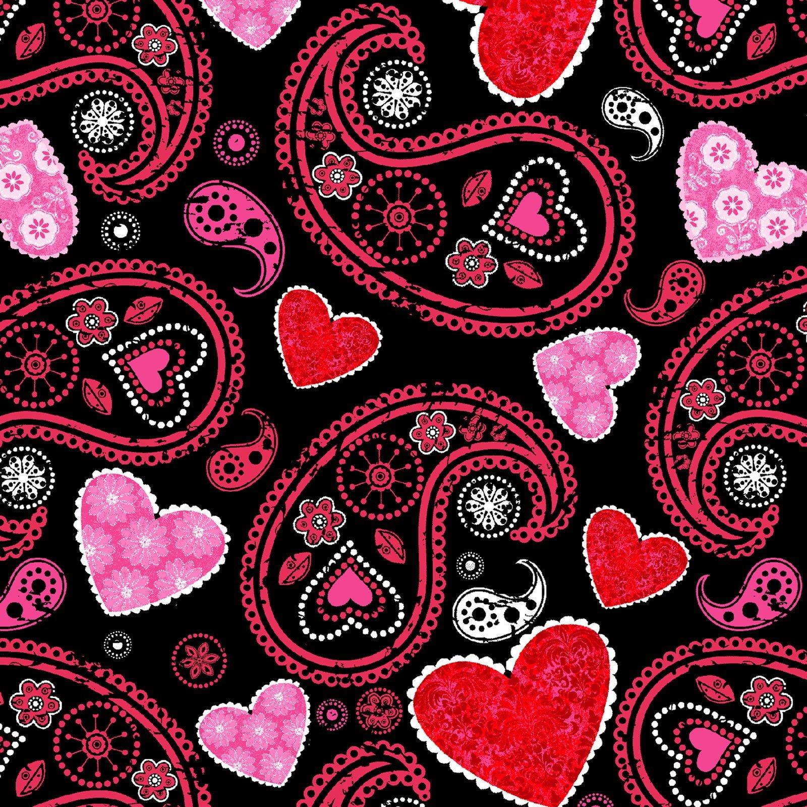 Hearts of Love Paisley Black<br/>Studio-e 4378-99