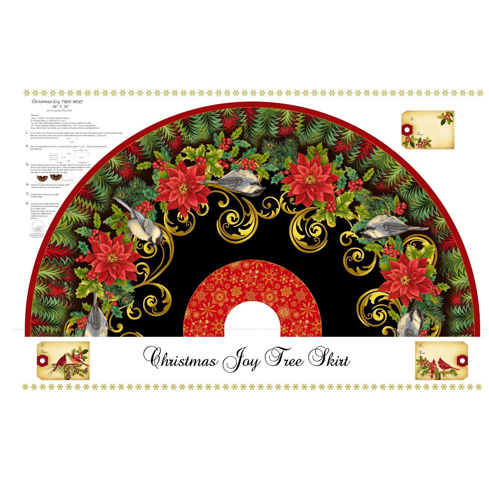 Christmas Joy Tree Skirt Panel<br/>Studio-e4692PMW-99
