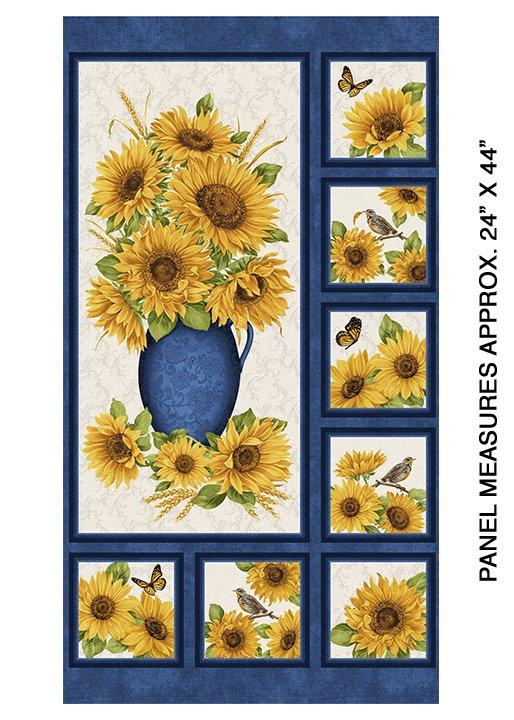 Accent On Sunflowers Panel Blue Multi